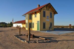 The Goffs Library - a replica of the historic Goffs Santa Fe Railway Depot (1902-1956). HAND-IN: 12-3-09